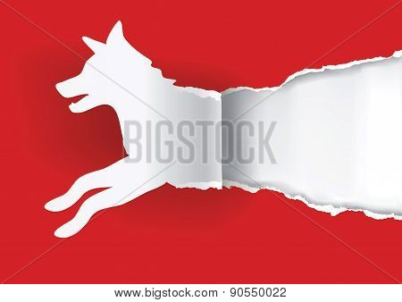Dog Silhouette Ripping Paper