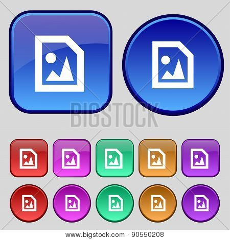 File Jpg Icon Sign. A Set Of Twelve Vintage Buttons For Your Design. Vector