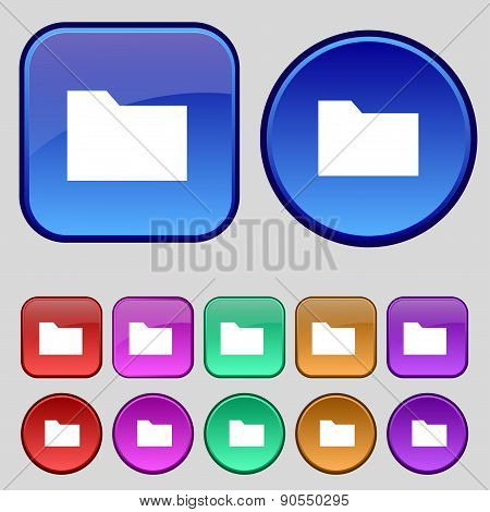 Document Folder Icon Sign. A Set Of Twelve Vintage Buttons For Your Design. Vector