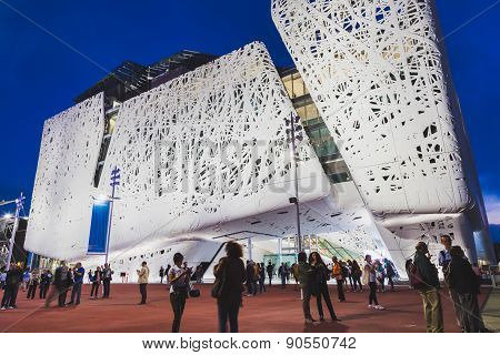 Italy Pavilion In The Evening At Expo 2015 In Milan, Italy