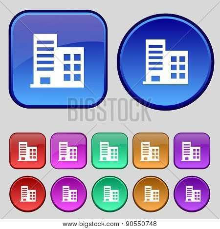 High-rise Commercial Buildings And Residential Apartments Icon Sign. A Set Of Twelve Vintage Buttons