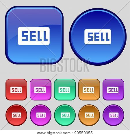 Sell, Contributor Earnings Icon Sign. A Set Of Twelve Vintage Buttons For Your Design. Vector