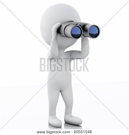3d white people looking through binoculars