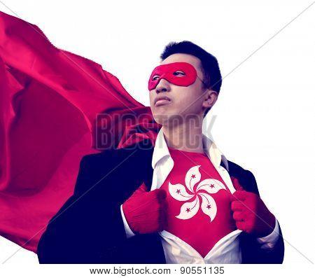 Superhero Businessman Hong Kong Isolated Concept