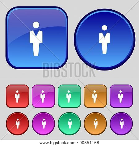 Human, Man Person, Male Toilet Icon Sign. A Set Of Twelve Vintage Buttons For Your Design. Vector