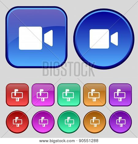 Video Camera Icon Sign. A Set Of Twelve Vintage Buttons For Your Design. Vector