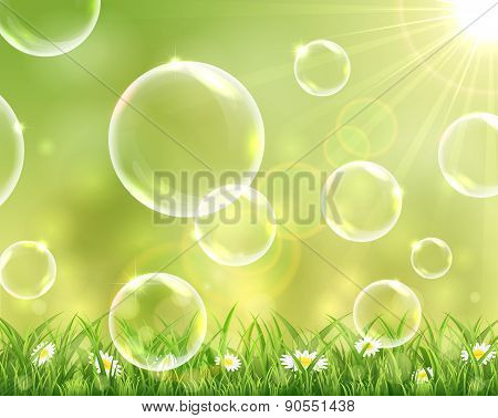 Sunny Background With Flying Bubbles