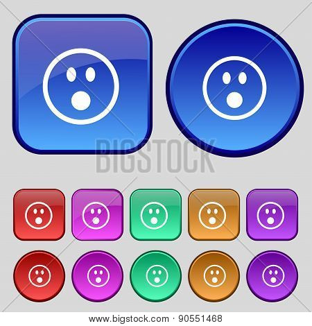 Shocked Face Smiley Icon Sign. A Set Of Twelve Vintage Buttons For Your Design. Vector