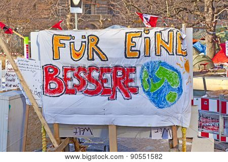 The Protest Camp Of The Occupy Frankfurt Movement At The European Central Bank Shows A Banner For A