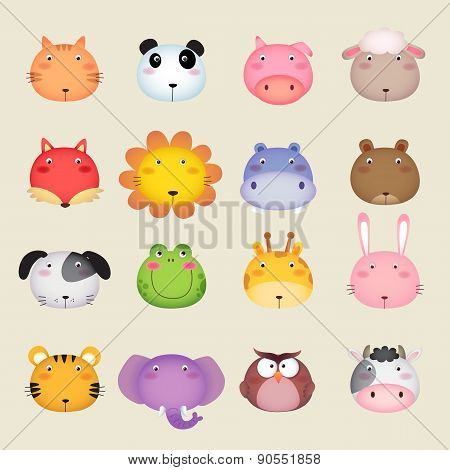 Cute Cartoon Animal Head
