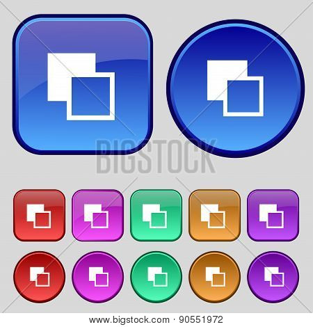 Active Color Toolbar Icon Sign. A Set Of Twelve Vintage Buttons For Your Design. Vector