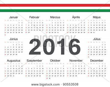 Vector Hungarian Circle Calendar 2016