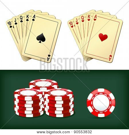 royal flush playing cards and chips casino