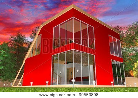 Modern red cottage1