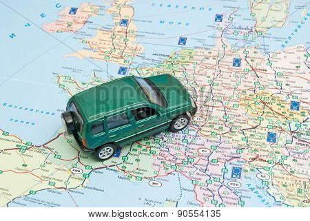 Green Car On Map