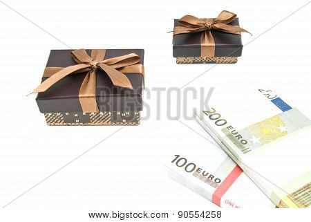 Banknotes And Two Brown Gift Boxes