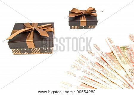 Two Brown Gift Boxes And Banknotes