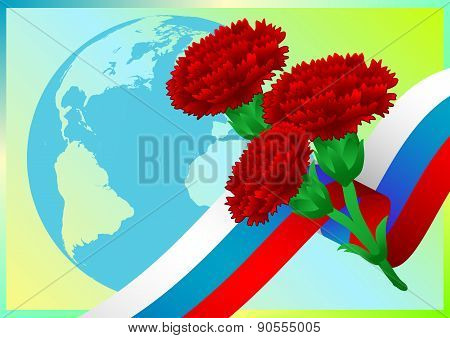 Earth Globe With Russian Flag And Carnations
