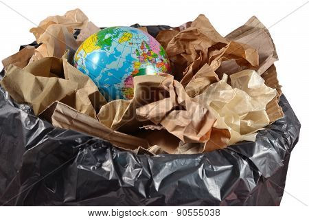 Globe In The Garbage Bin