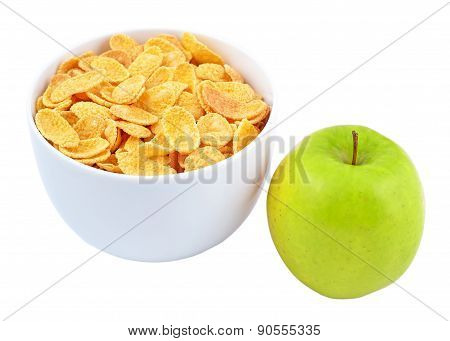 Green Apple And Bowl Of Cornflakes