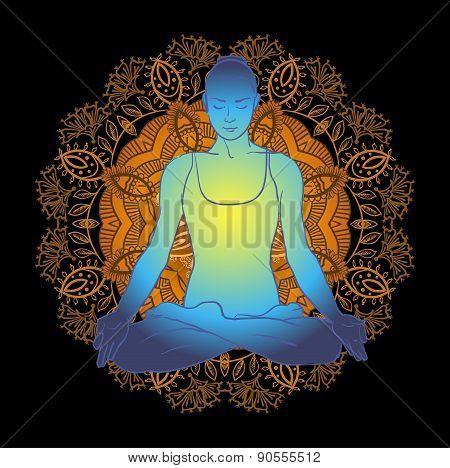 beautiful woman doing yoga meditation