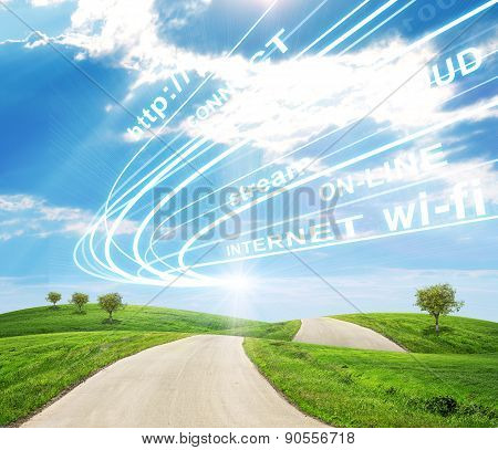 Landscape under blue sky with road