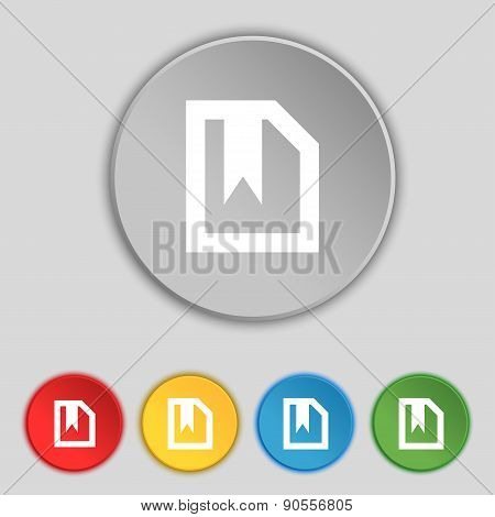 Bookmark Icon Sign. Symbol On Five Flat Buttons. Vector