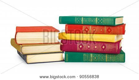 Stack Of Old Book Isolated On White Background