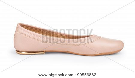Beige Low-heeled Shoes On An Isolated White Background
