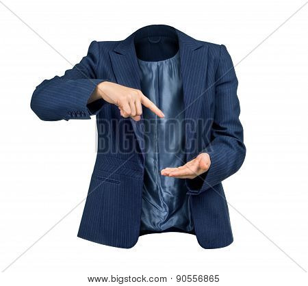 Business Management Concept. Empty Blue Jacket With Hands Pointing At Nothing To Isolate The White B
