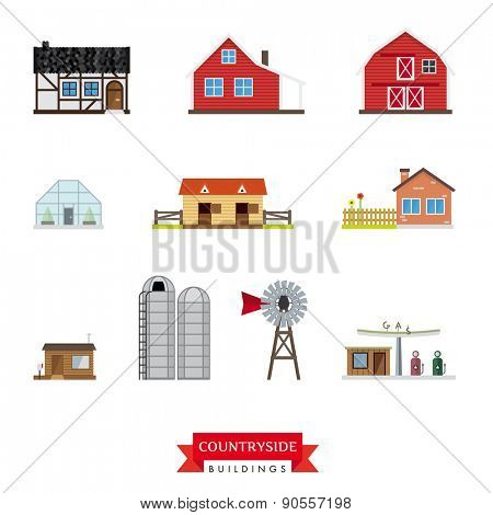 Countryside Buildings Vector Set. Collection of 10 flat design buildings typical of the countryside and rural area.