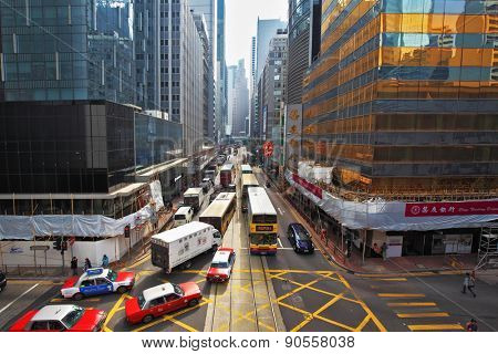 HONG KONG - DECEMBER 11, 2014: Hong Kong Special Administrative Region. Modern skyscrapers and narrow streets between them