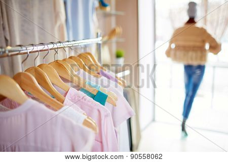 Elegant clothes on hangers in boutique