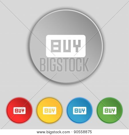 Buy, Online Buying Dollar Usd  Icon Sign. Symbol On Five Flat Buttons. Vector