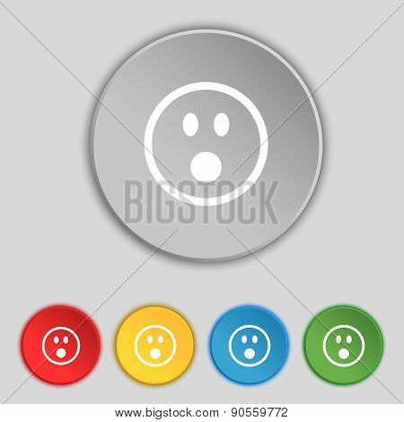 Shocked Face Smiley Icon Sign. Symbol On Five Flat Buttons. Vector