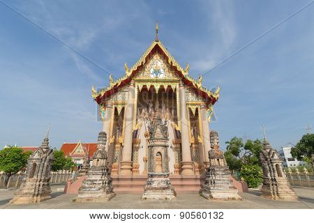 Temple with pagoda and sky background