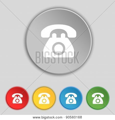 Retro Telephone Icon Sign. Symbol On Five Flat Buttons. Vector