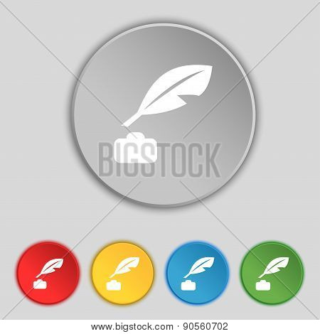 Feather, Retro Pen Icon Sign. Symbol On Five Flat Buttons. Vector