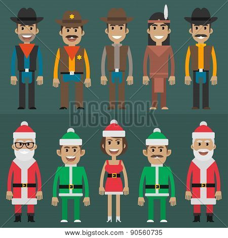 Group people cowboy sheriff santa claus gnome