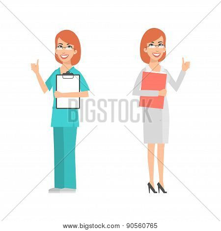 Women scientist and doctor showing thumbs up