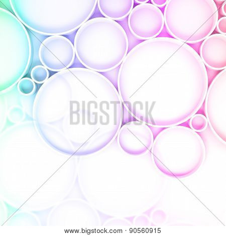 3D Pattern With Colorful Rings Over White Backdrop