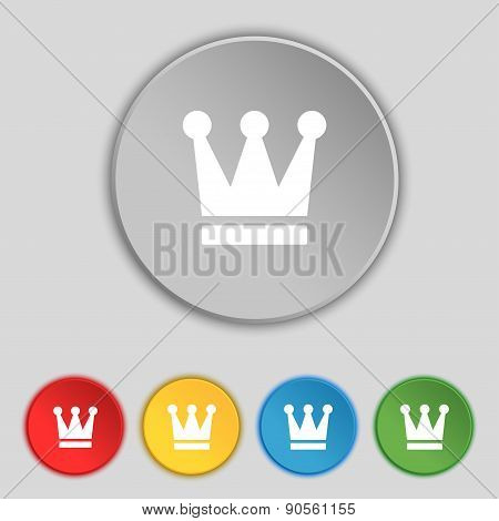 King, Crown Icon Sign. Symbol On Five Flat Buttons. Vector