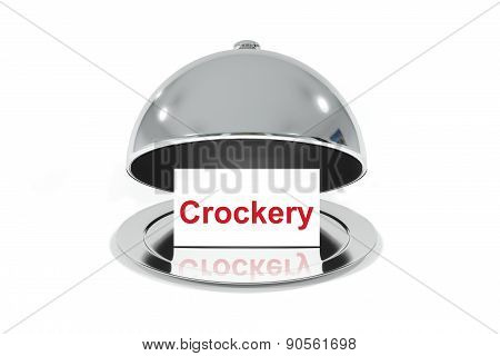 Opened Silver Cloche With White Sign Crockery