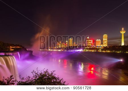 Niagara Falls Light Show At Night, Usa