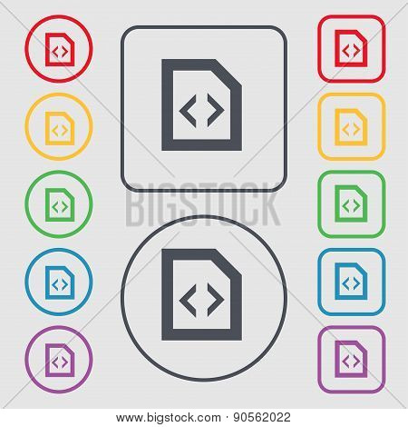 Programming Code Icon Sign. Symbol On The Round And Square Buttons With Frame. Vector