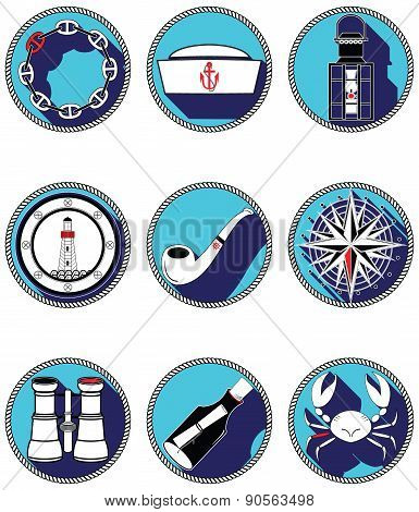 Nautical Elements IV Icons In Knotted Circle