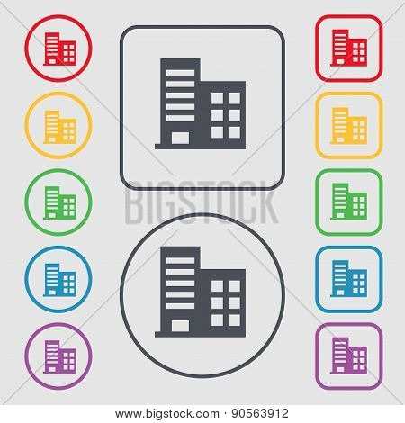 High-rise Commercial Buildings And Residential Apartments Icon Sign. Symbol On The Round And Square