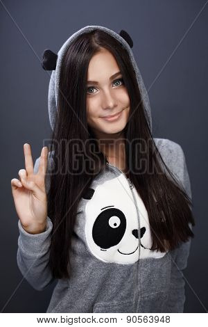Charming Girl Dressed As A Panda
