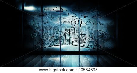 Cityscape with brainstorm doodle against futuristic technology interface