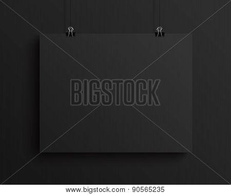 Black blank horizontal sheet of paper, vector mock-up